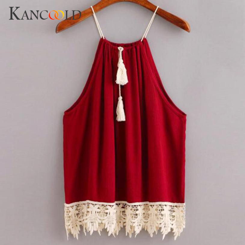 Women Women Lace Trimmed Tasselled Sleeveless Halterneck Tank Crop Tops Vest Blouse Shirt Mar 16