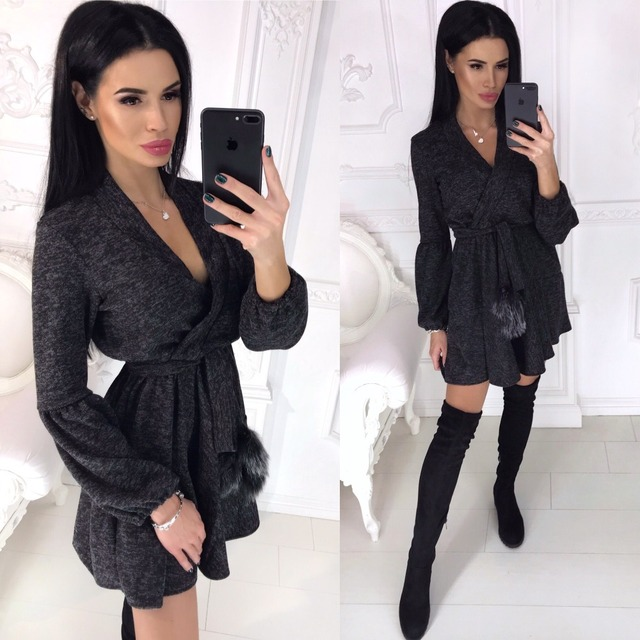 New Spring Winter Women Colors Cotton Sashes Hairball V-neck Fit and Flare Casue Warm Long Sleeve Dress Sexy elegant Vestidos 2