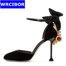 Woman ankle Strap Pumps Silk leather pointed toe High-heeled shoes Lady fashion Bowtie Rhinestone Adornment High heels Sandals
