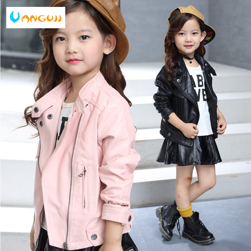 children's pu jacket Girls motorcycle jacket kid outwear Standing collar zipper long sleeve Casual spring Autumn fashion cool блуза supertrash блуза