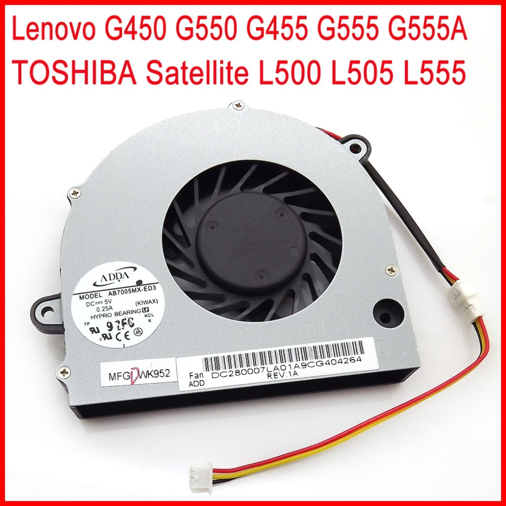 New  Laptop CPU Cooling Fan For Lenovo G450 G550 G455 G555 G555A TOSHIBA Satellite L500 L505 L555 Laptop CPU Cooling Fan
