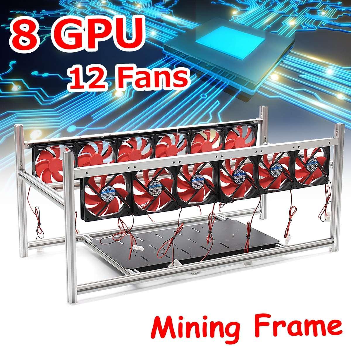 8 GPU Bergbau Rahmen Mit 12 LED Fans Aluminium Stapelbare Box ...