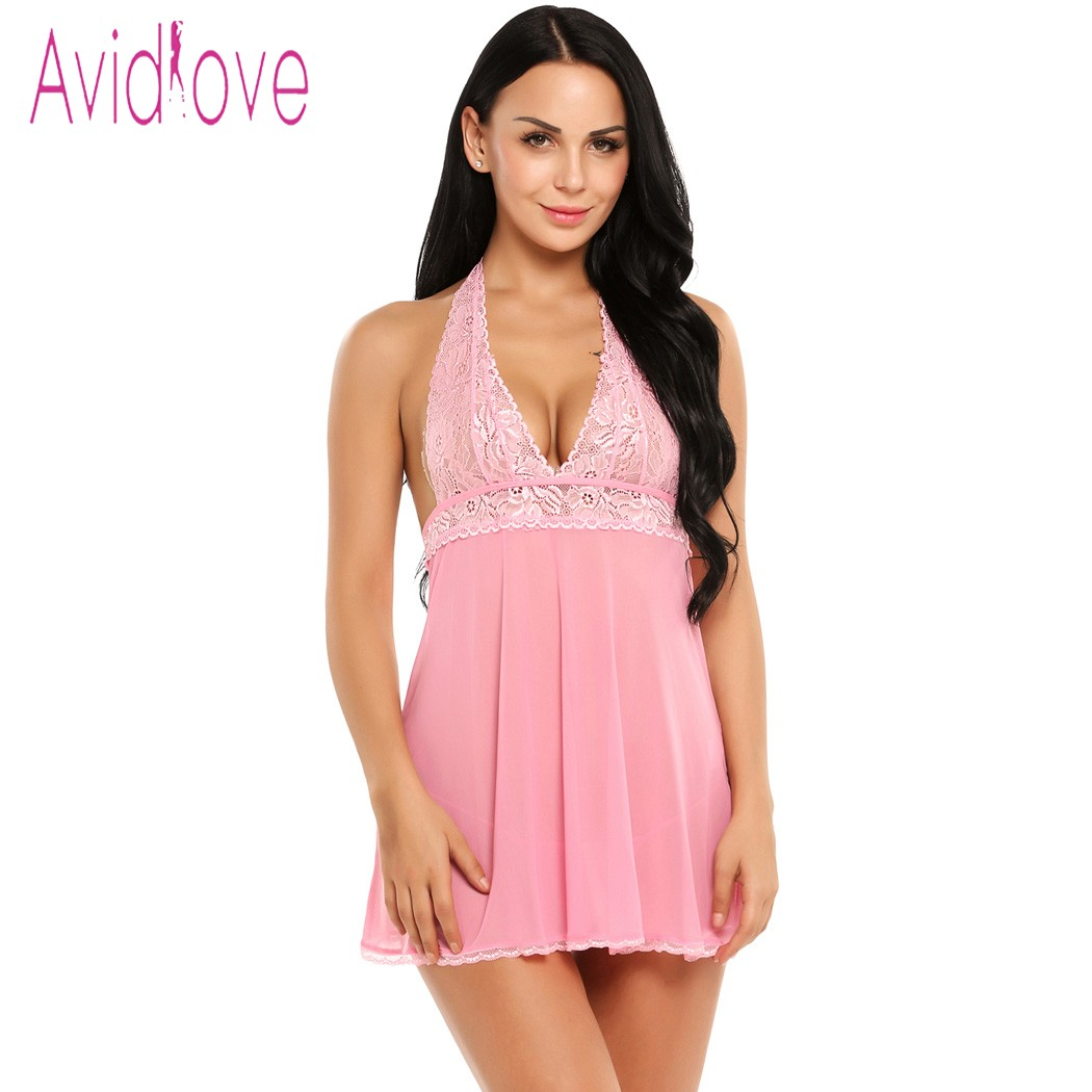 Buy Avidlove Babydoll Lingerie Sexy Hot Erotic Underwear Women Floral Lace Sleepwear Bow Chemise Nightgown Female Negligee Costume