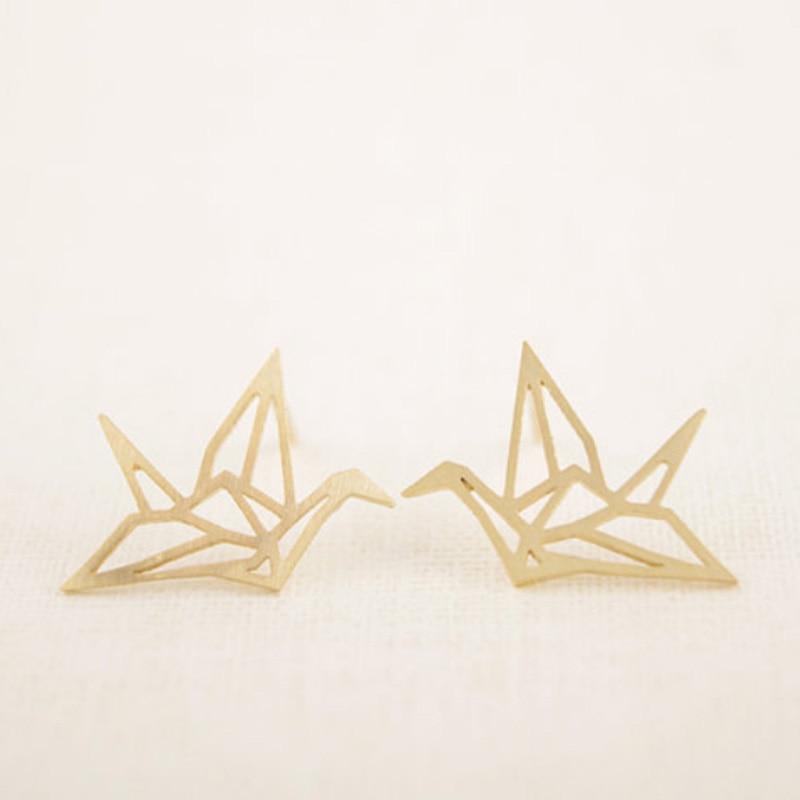 Atacado Moda Recorte Brincos Pássaro Andorinha Bonito Origami Guindaste Studs Especial Projetado Para Mulheres Meninas Moda Jóias Brinco