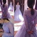 Meninas Doce 16 Vestidos de Baile de Máscaras Vestidos Light Purple Lace Sheer Tulle Corset Plus Size Manga Longa Vestido Quinceanera Lilás
