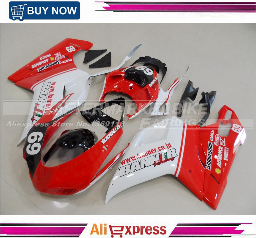BANNER COLOR RED & WHITE Injection Fairing Kit For Ducati 1098 1198 848 Fairings Kits With Free Shipping