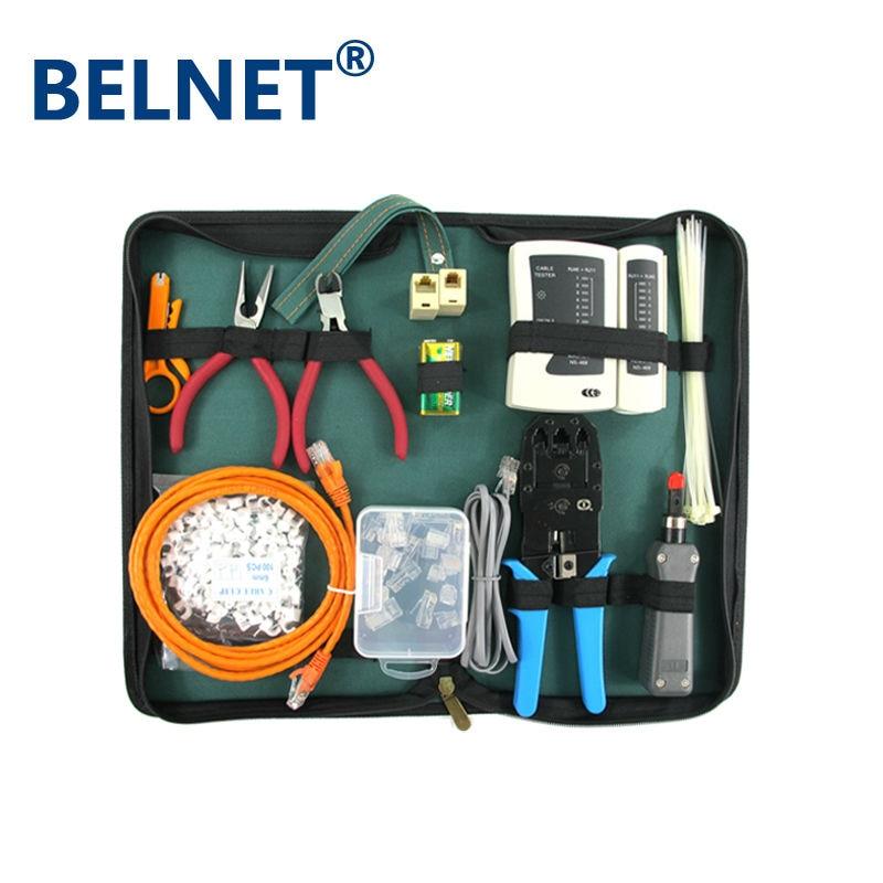 Professionnel RJ45 Réseau câble Outils kit 16 en 1 Testeur de Câble Réseau rj45 À Sertir outil rj45 Punch Down outil