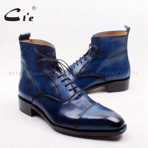Image 5 - cie Square Captoe Lace Up Handmade Hand Painted Navy 100% Genuine Calf Leather Hidden Suture Goodear Welted Men Leather BootA156