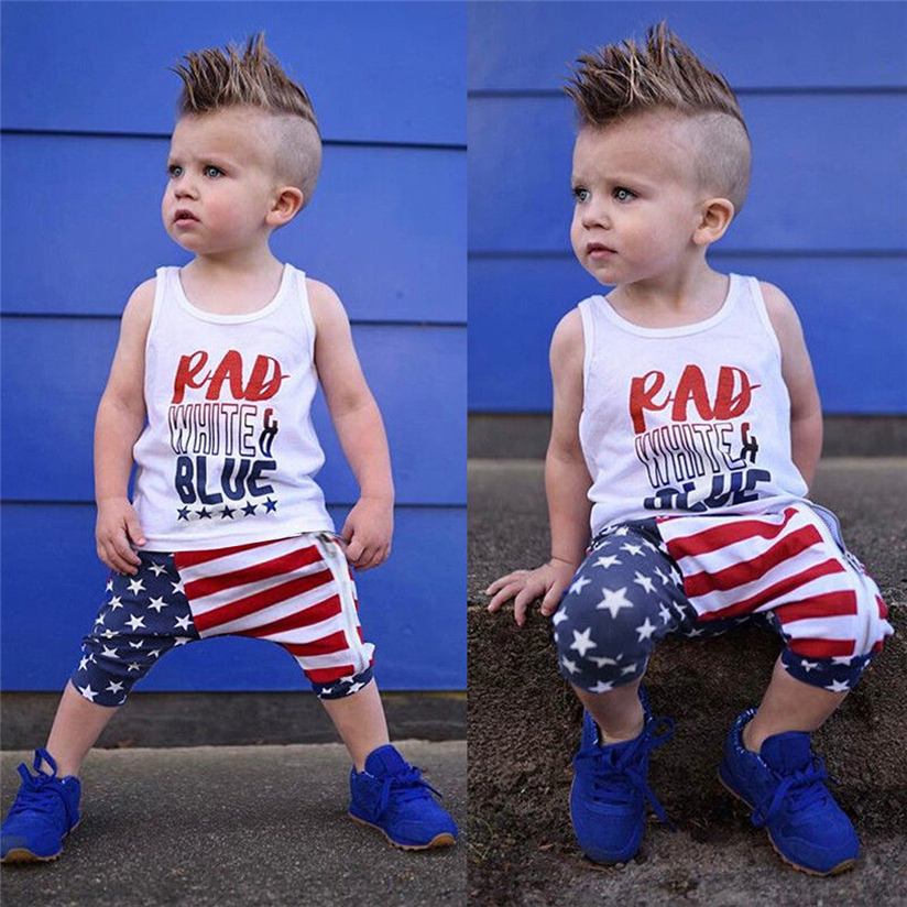 Toddler Baby Girls Boys Stars Striped Tops Vest T Shirt 4th Of July Outfits Set 2018 Fashion Cute With High Quality #5