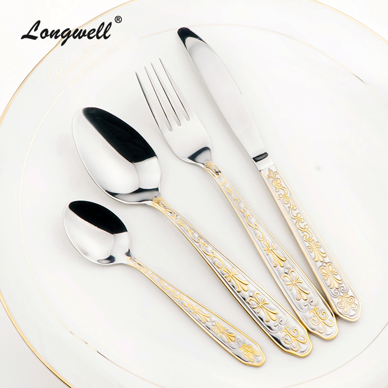 stainless steel cutlery set golden fork knife dinnerware. Black Bedroom Furniture Sets. Home Design Ideas