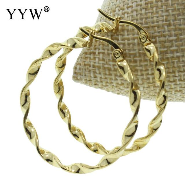 Yyw Women Whole Punk Rock 40mm Twist Round Circle Loop Hoop Earrings Gold Color Stainless