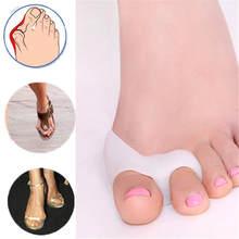 1 par de dedo pulgar Valgus Protector con Gel de silicona para pies dedos dos agujero separador de dedos para juanete ajustador de Hallux Valgus cuidado de los pies
