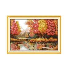 Kit de point de croix paysage, peinture créative âge doré, peinture décorative avec meubles, collection automne, broderies