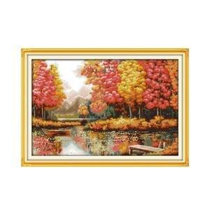 Image 1 - Kit de point de croix paysage, peinture créative âge doré, peinture décorative avec meubles, collection automne, broderies