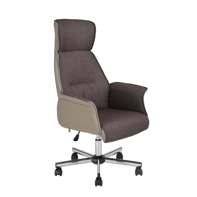 Eggree Comfortable Swivel Office Chair With Armrests Pu Leather Fabric Brown