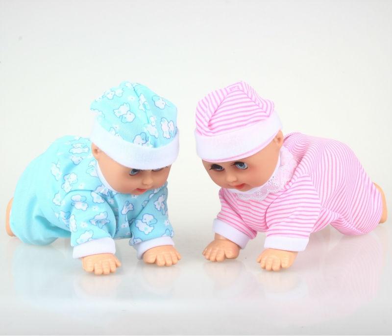 Funny Electric Crawling Music Baby Doll Crawl Learning Sötleksaker Educational Speaking Dolls Födelsedagskort FSOWB