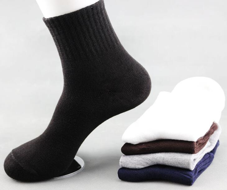 12pairs Socks thin black/grey/white 100% cotton sports adult knee-high promtion gift spring and autumn short socks male
