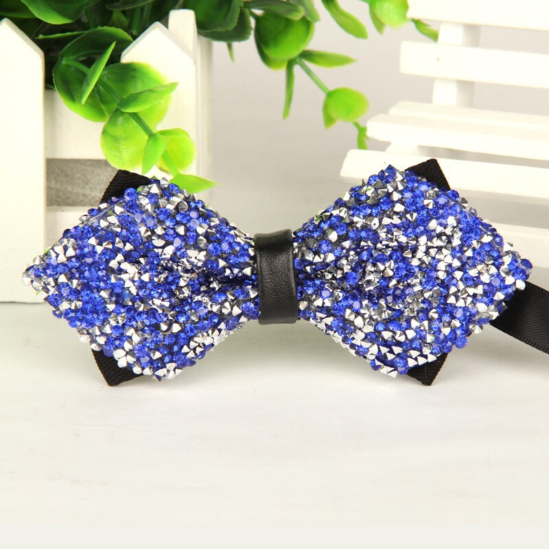 2015 high quality butterfly men pointed Blue Artificial crystal rhinestone Shining Wedding Party Bow Tie Fashion 1 pcs Wholesale