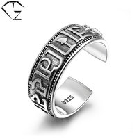 GZ Real 925 Sterling Silver Rings For Men Boy Jewelry Adjustable Open Size Lover S925 Solid