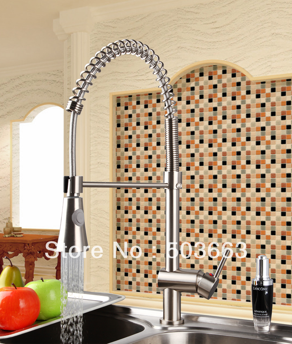 Modern Nickel Brushed Brass Water Kitchen Faucet Swivel Spout Pull Out Vessel Sink Single Handle Deck Mounted Mixer Tap MF-295 hot free wholesale retail chrome brass water kitchen faucet swivel spout pull out vessel sink single handle mixer tap mf 264