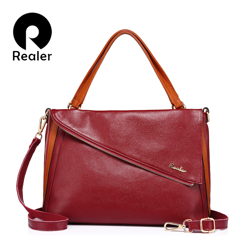 Realer casual totes for women ladies handbags crossbody bags genuine leather good quality with chains fashion