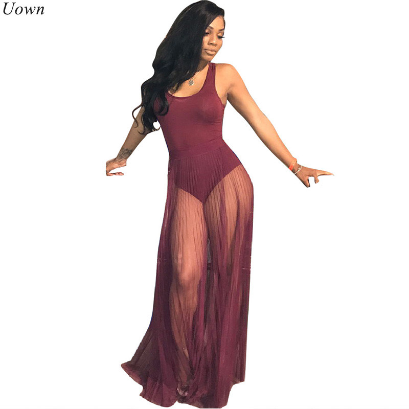 Cotton Mesh Maxi Dress with Floor-Length Sheer Overlay See Through Pleated Party Dresses Tank Bodycon Long Dresses Vestidos