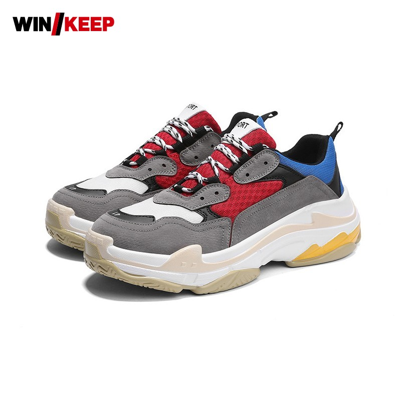 2018 Vintage New Thick Platform Mens Running Shoes Ladies Outdoor Sports Sneakers For Men Cushioning Walking Harajuku Streetwear bmai mens cushioning running shoes marathon athletic outdoor sports sneakers shoes zapatillas deportivas hombre for men xrmc005