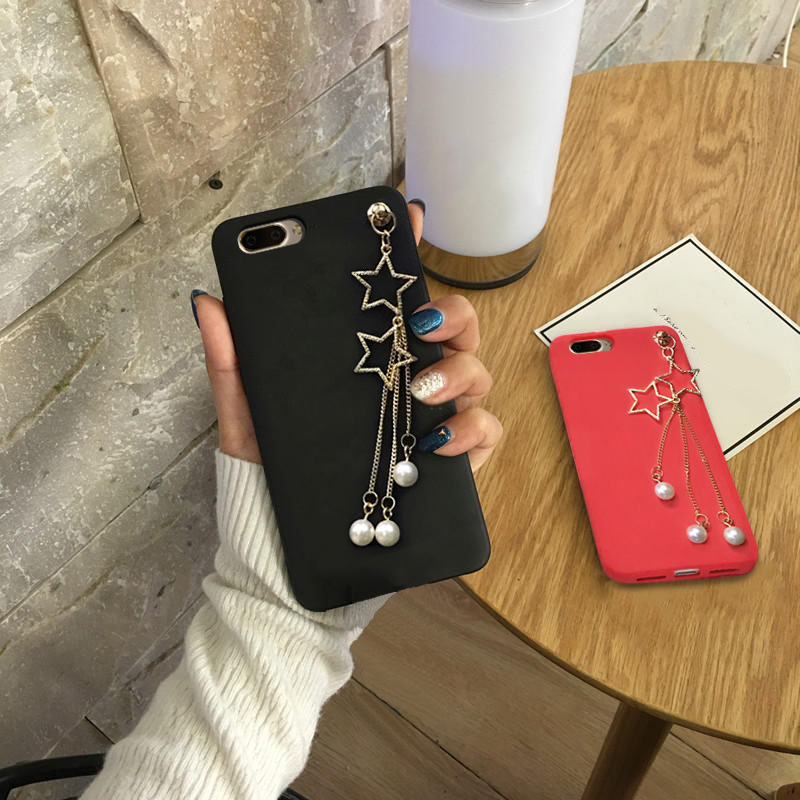 3D Luxury Pearl Star Pendant Phone Cases For OPPO F7 Case Soft Silicone TPU Coque For OPPO A1 Case Cover Capa