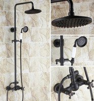 Bathroom Hot Cold 2 Handles Black Oil Antique Bronze Rain Shower Faucet Mixer Tap Wall Mounted ars414
