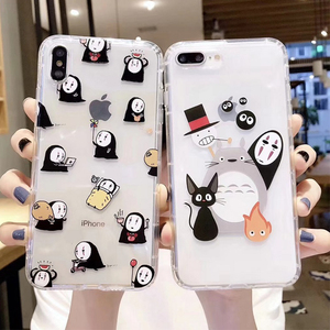 Japan cartoon Totoro Spirited Away Ghibli Miyazaki Anime Kaonashi Soft Clear Case For iPhone 11 11pro XR X 7 8Plus XS Max case(China)