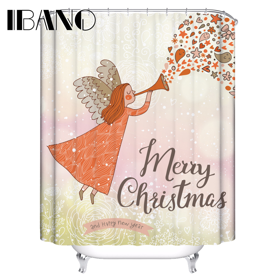 IBANO Shower Curtain Happy New Year Waterproof Polyester Fabric 180x180cm Shower Curtain For The Bathroom With 12pcs Hooks