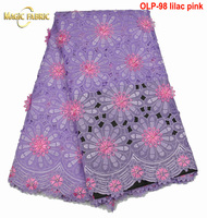 Organza net lace with stones and beads French lace fabric 2017 lilac pink African lace fabric For Women dress OLP-98