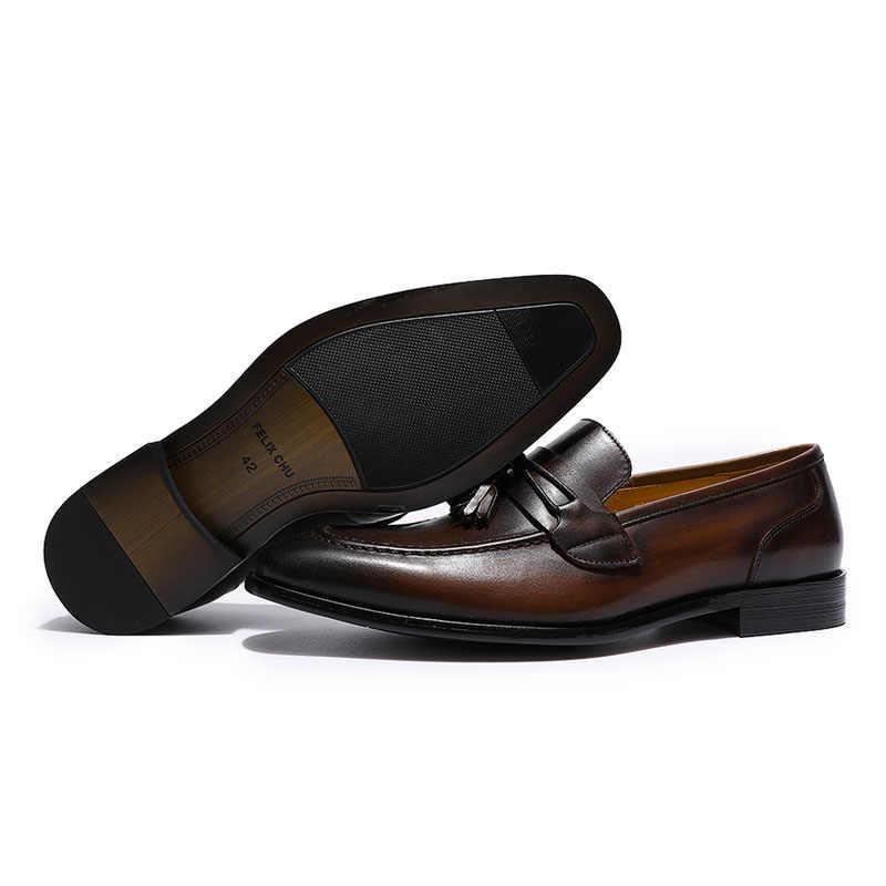 4b02f1f91fc5b ... FELIX CHU Mens Tassel Loafers Italian Dress Casual Loafer for Men Slip-on  Wedding Party ...