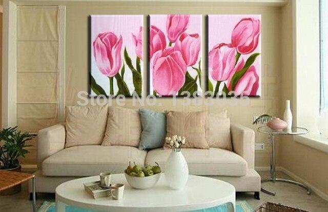 Roze Decoratie Woonkamer : Handgeschilderde abstract roze tulp olieverf bloemen moderne