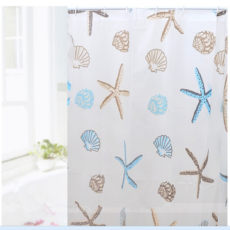 polyester shower curtain terylene blue sea life seashell waterproof shower curtain thicken shower bathroom curtain 180