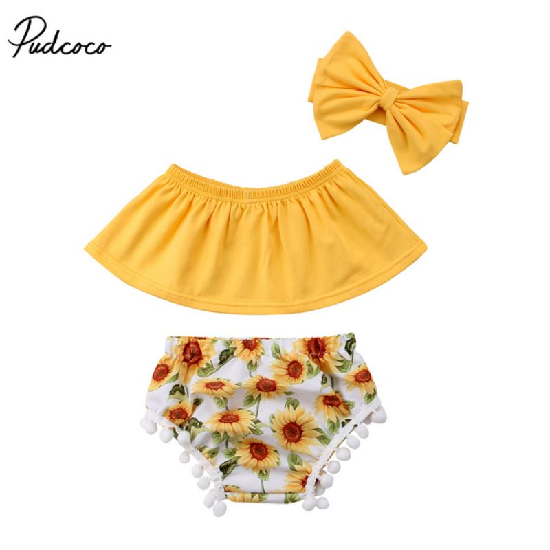 2018 New Toddler Baby Girls Outfit Off Shoulder Tops+Short Pants+Headband Summer Clothing Set