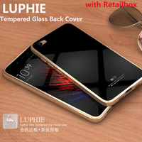 Luphie Luxury Metal Frame Tempered Glass Back Cover Case For Xiaomi Mi5 M5 Mi 5 Aluminum