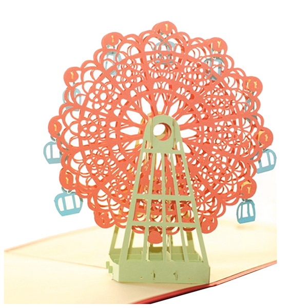 Perfect-Diy 3D Greeting Card With Envelope Pop Up Cute Birthday Gift Cards Ferris Wheel Valentine Day Handmade Souvenir Orang