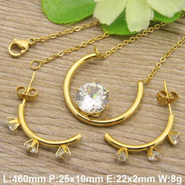 Hot new Superior chất lượng thép không gỉ trang sức Mạ màu vàng vòng cổ lãng mạn + mặt dây + Bông Tai sets đối với phụ nữ SGFAAZBA