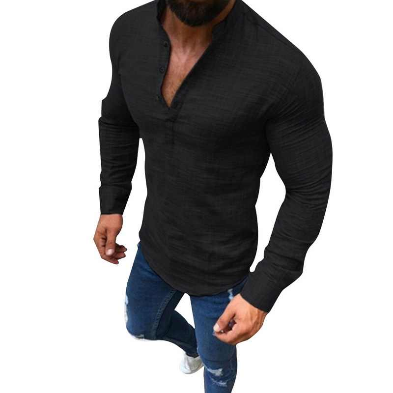 7aeda056a 2019 Sexy hombres de manga larga cuello en V blusa verano moda Casual ropa  fresca ajustada Fit camisetas Tops hombre transpirable lino camisas