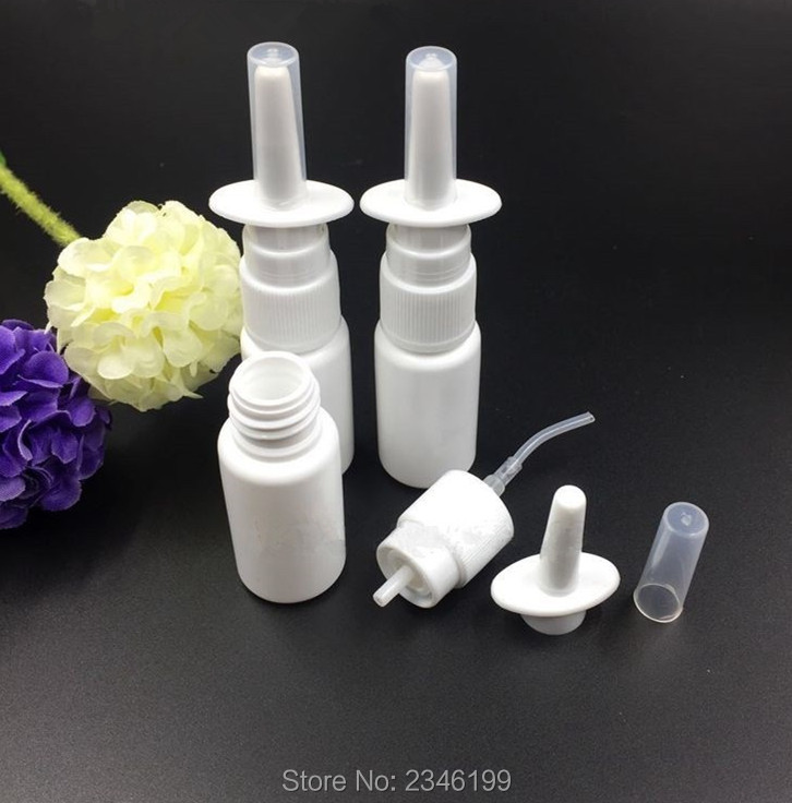 5ML 10ML 15ML 20ML 30ML 50ML 100pcs Lot White Plastic Spray Bottle DIY Oral Nasal Container
