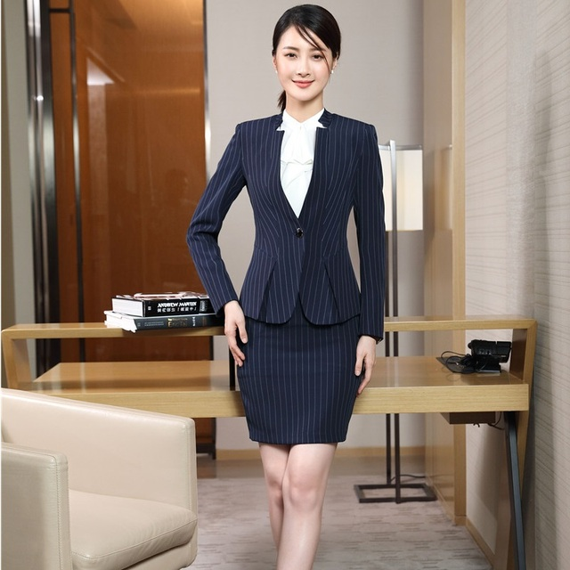 Fashion Striped Formal Navy Blue Blazer Women Business Suits Skirt and Tops  Sets Ladies Work Wear Uniforms Blazers   Jackets 0bbd6a2f3