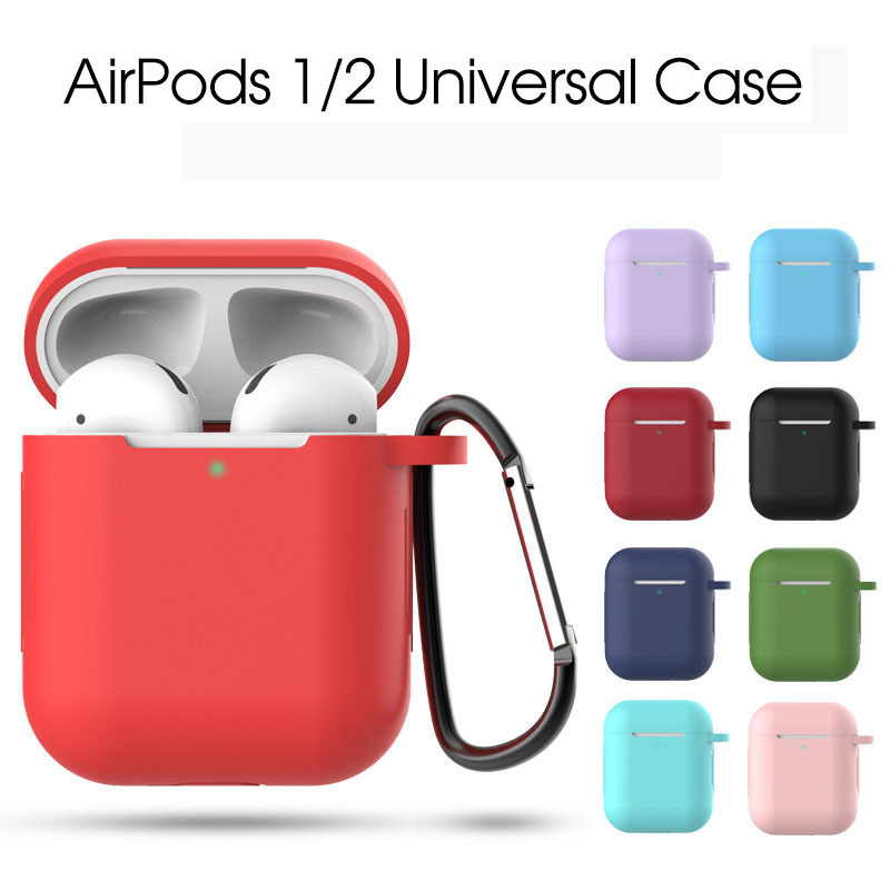 Soft Silicone Earphone Case For AirPods 1 2 Universal Protective Case For Air Pods Cover Accessories Strap Holder