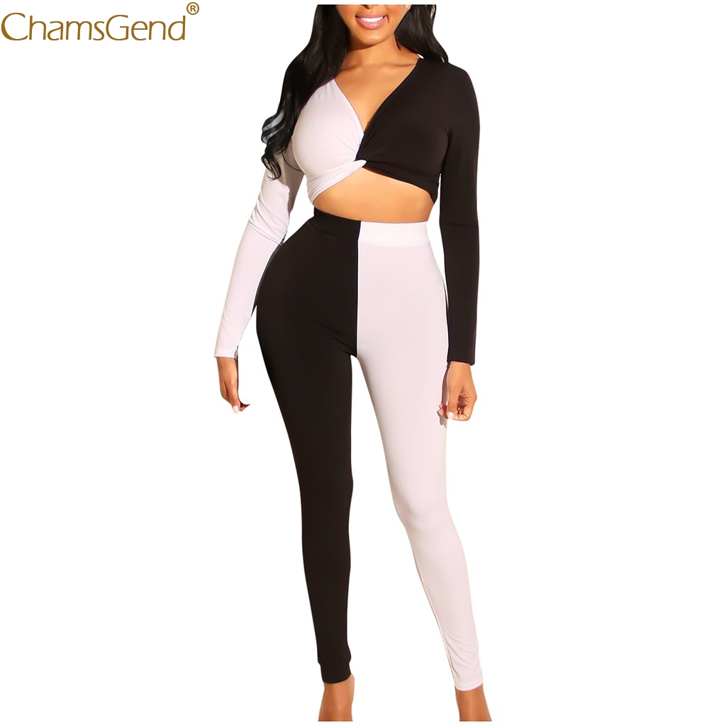 Jumpsuits For Women 2020 Elegantes Summer Sexy Black White Patchwork Sexy Jumpsuit Elegant Long Sleeve Suit Trousers Jul