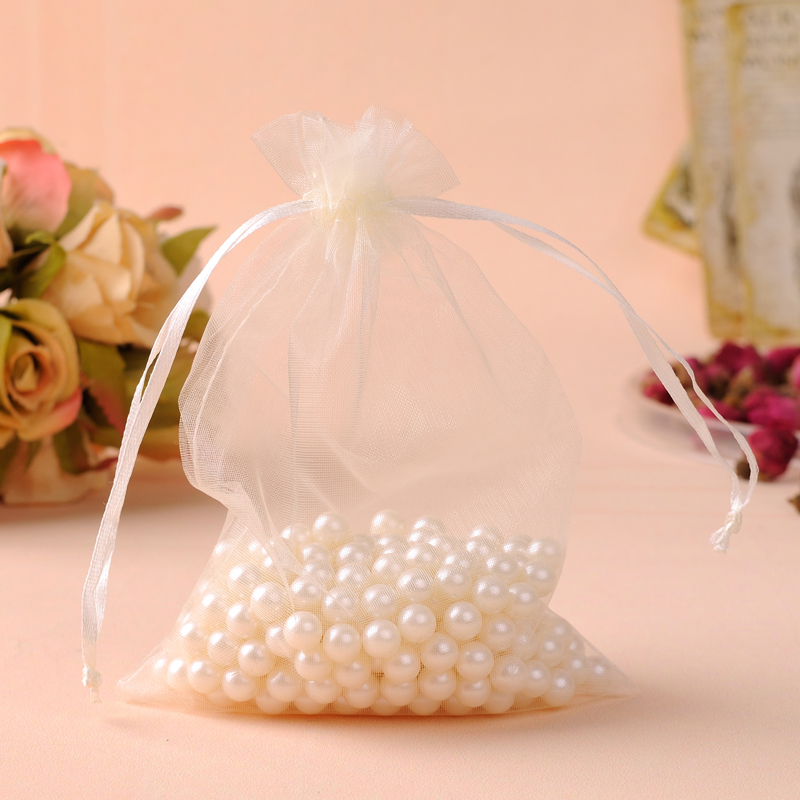 Wholesale 100pcs/lot 17x23cm Beige Wedding Drawable Organza Voile Gift Packaging Bags&Pouches Can Customized Logo Printing