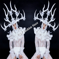 BC64 Christmas LED costumes mens dance luminous clothes white glowing singer show wears led headdress party dj pants light stage