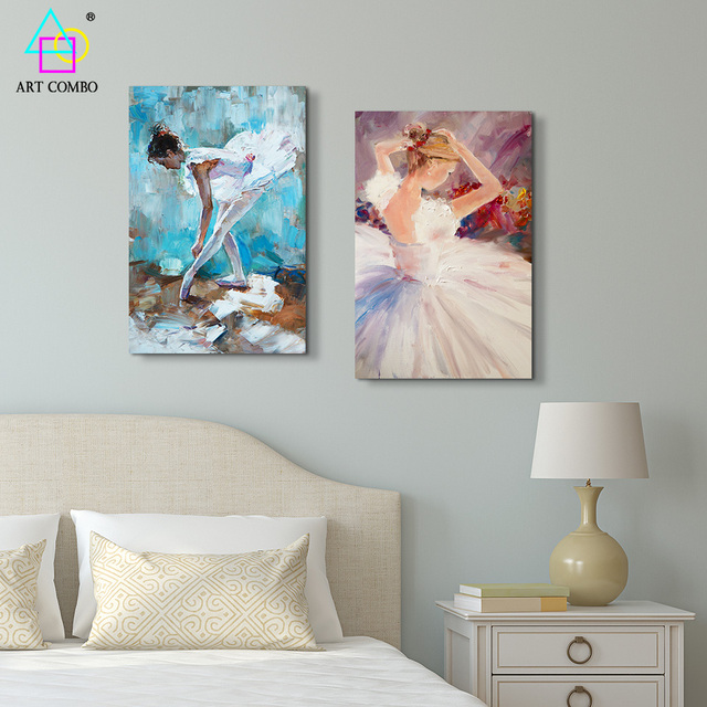 Figure Cute Ballerina Dancer Oil Painting Canvas Printings Spray Wall Kids  Room Art Picture Home Decor No Frame One Piece SF041