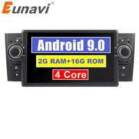 Eunavi 1 Din 7'' Quad core Android 9.0 Car DVD Player Stereo Radio System GPS Navi for Fiat Linea Grande Punto 2007 2012 USB BT