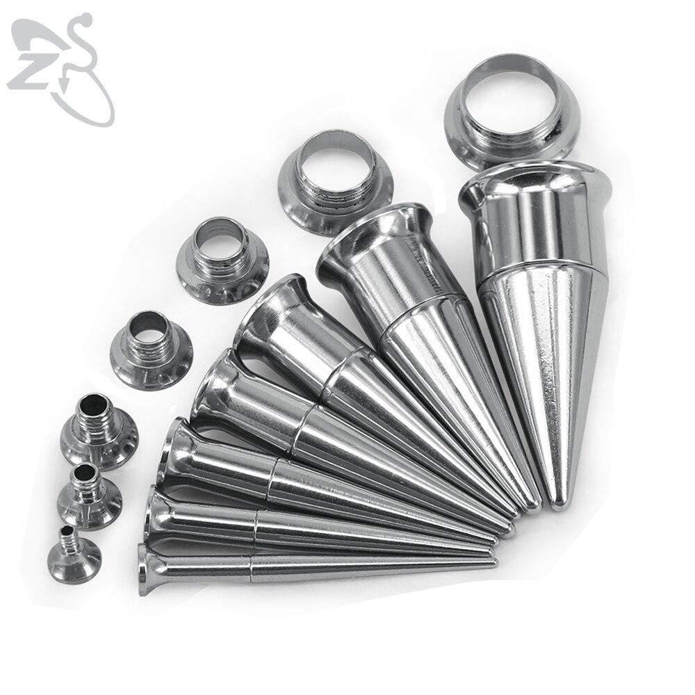 Moda Duplo Flared Ear Plug Túnel Ouvido Afila Alongamento Kits de Aço Inoxidável Parafusado e Medidores de Ouvido Túnel Piercing Jóias