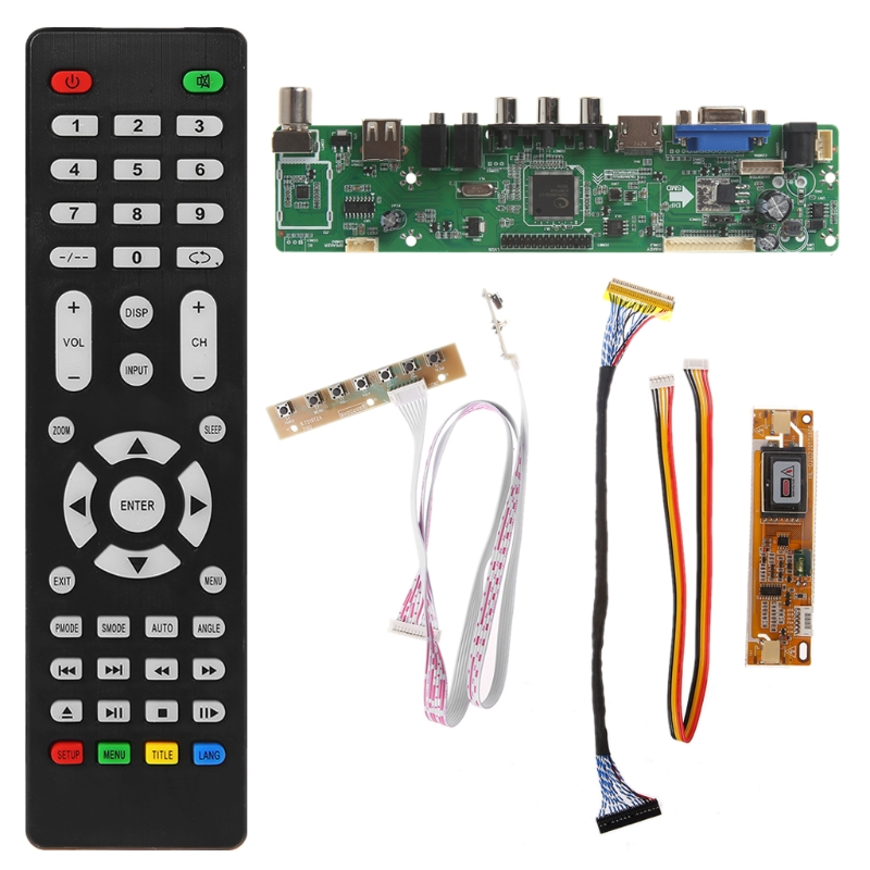 V56 Universal LCD TV Controller Driver Board PC/VGA/HDMI/USB Interface+7 Key Board+LVDs Cable KitV56 Universal LCD TV Controller Driver Board PC/VGA/HDMI/USB Interface+7 Key Board+LVDs Cable Kit